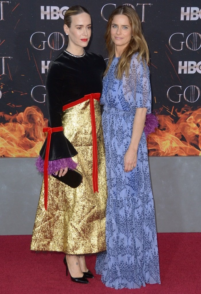 Sarah Paulson posing with her BFF Amanda Peet at the Game of Thrones Season 8 premiere in New York City on April 3, 2019