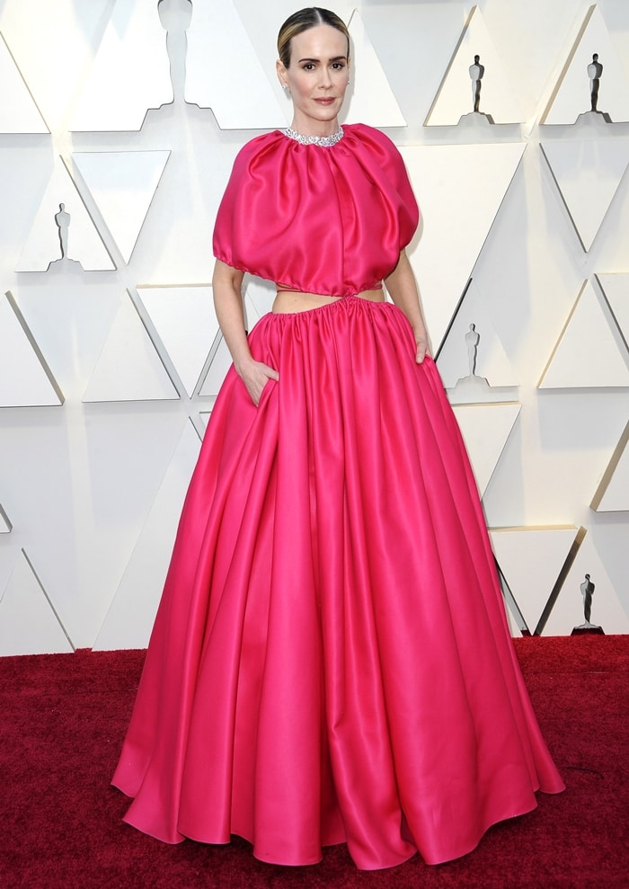 Sarah Paulson's fuchsia-colored Brandon Maxwell gown at the 2019 Academy Awards at the Dolby Theatre in Los Angeles on February 24, 2019