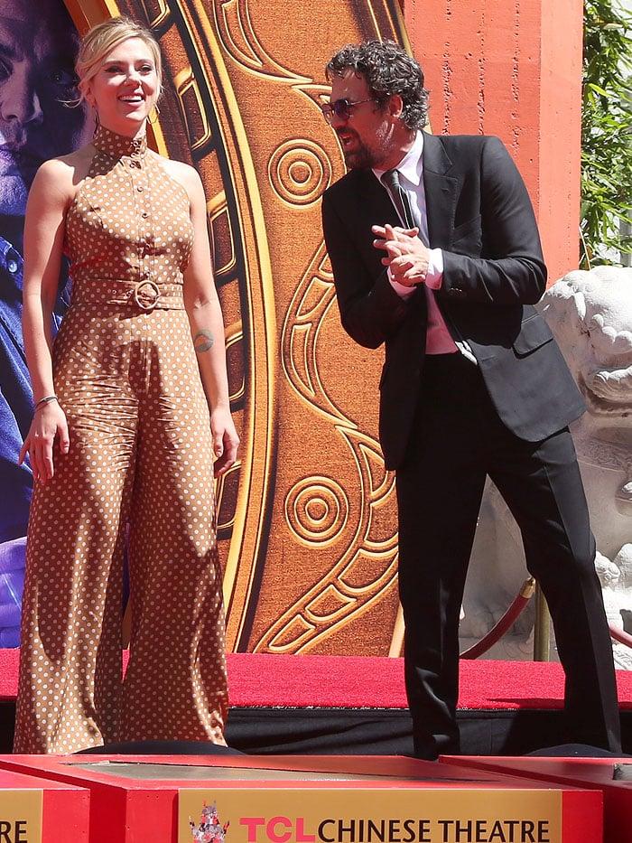 Scarlett Johansson in a Zimmerman polka-dot belted jumpsuit