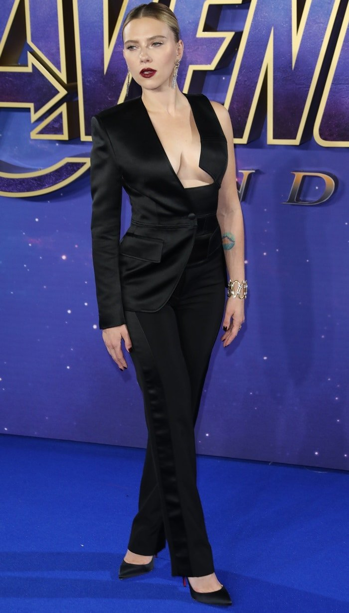 Scarlett Johansson in a black tuxedo jumpsuit by Tom Ford