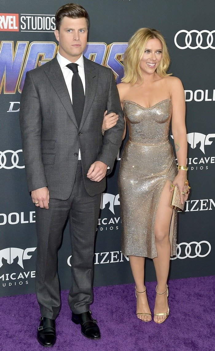 Scarlett Johansson and her boyfriend Colin Jost at the Avengers: Endgame world premiere held at the Los Angeles Convention Center in Los Angeles on April 22, 2019