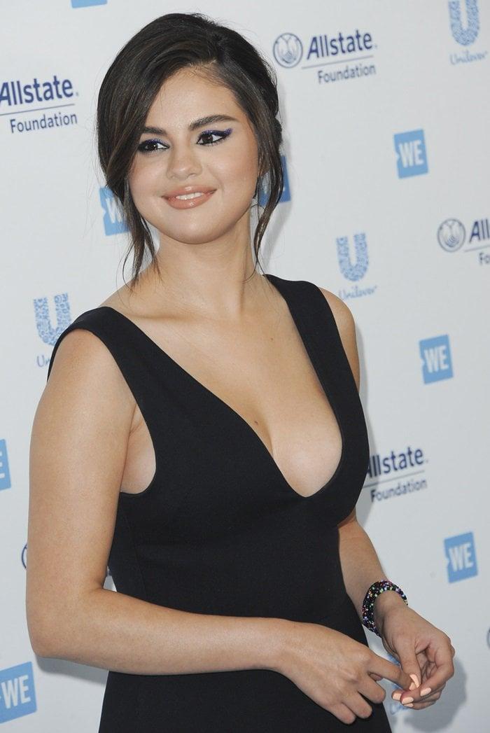 Selena Gomez in a black Dior wool and silk dress from Maria Grazia Chiuri's Cruise 2019 collection