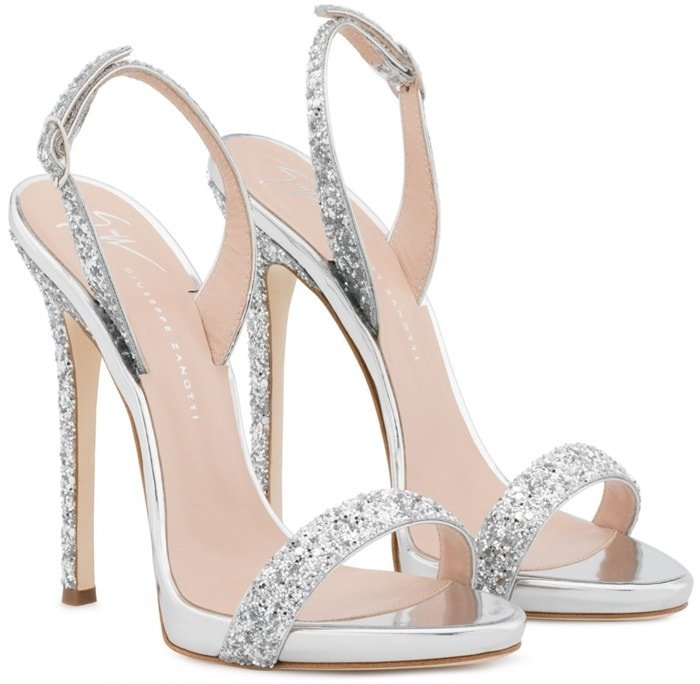 Silver Patent Sophie Sandals With Glitter
