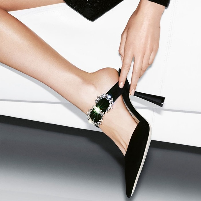 This glamorous special occasion pump hosts a diamante detailed baroque buckle that takes centre stage at the ankle