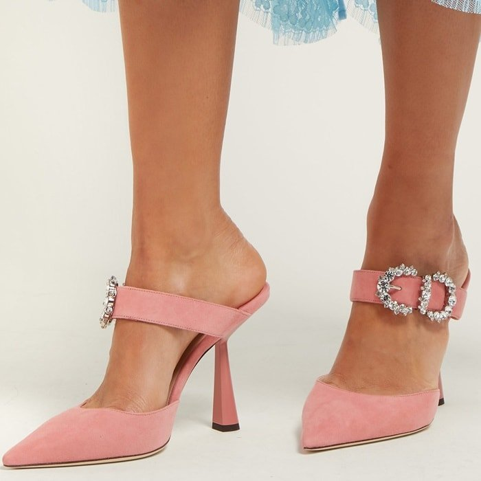 The defining feature of these sweet-pink Smokey mules is the crystal-embellished buckle that adorns the arch strap, imbuing the silhouette with Jimmy Choo's signature high-octane glamour
