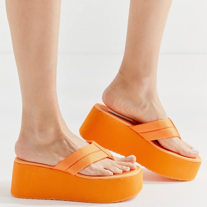 Slip into classic '90s style with this throwback platform orange sandal