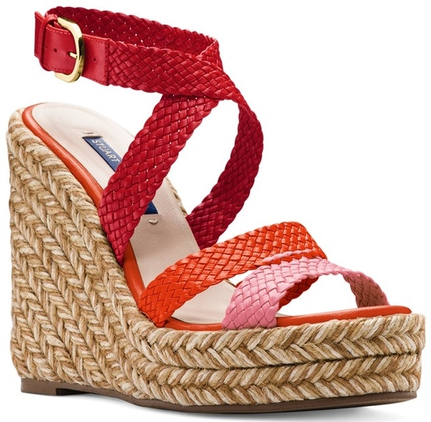 Red Elsie Tricolor Espadrille Wedge Sandals by Stuart Weitzman