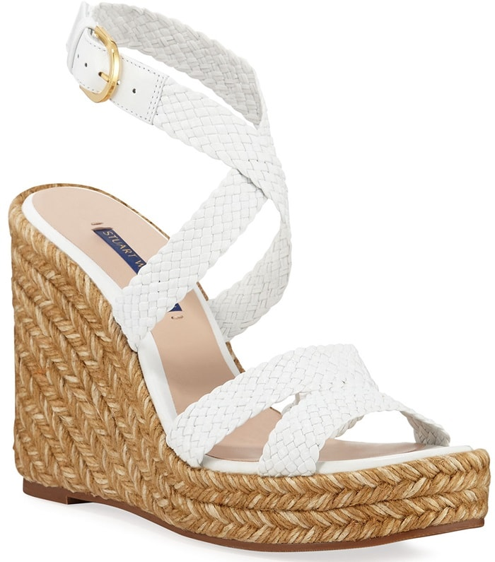 6dddcdca8 An intricately braided tri-colored jute sole lends a luxe touch to the  Elsie wedges