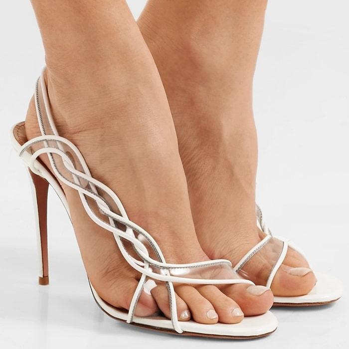 AQUAZZURA Swing 105 patent-leather and PVC slingback sandals