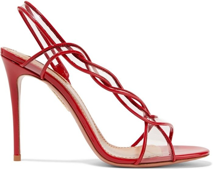 These sandals are set on a thin 105mm stiletto heel and have a lightly padded insole for added comfort