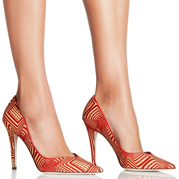 Red Multi Fabric Deep-Plunging Vamp Pumps