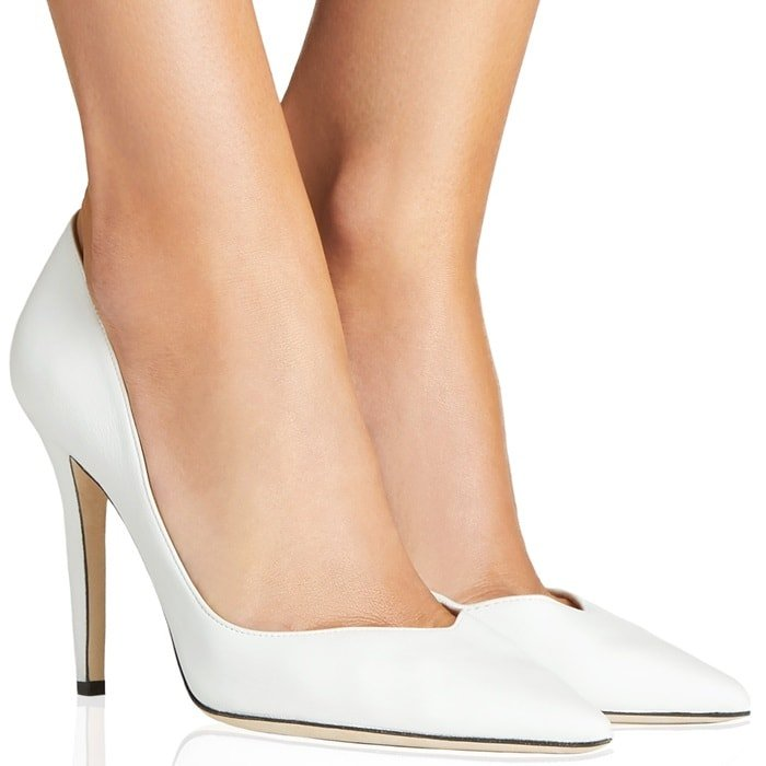 White Deep-Plunging Vamp Pumps