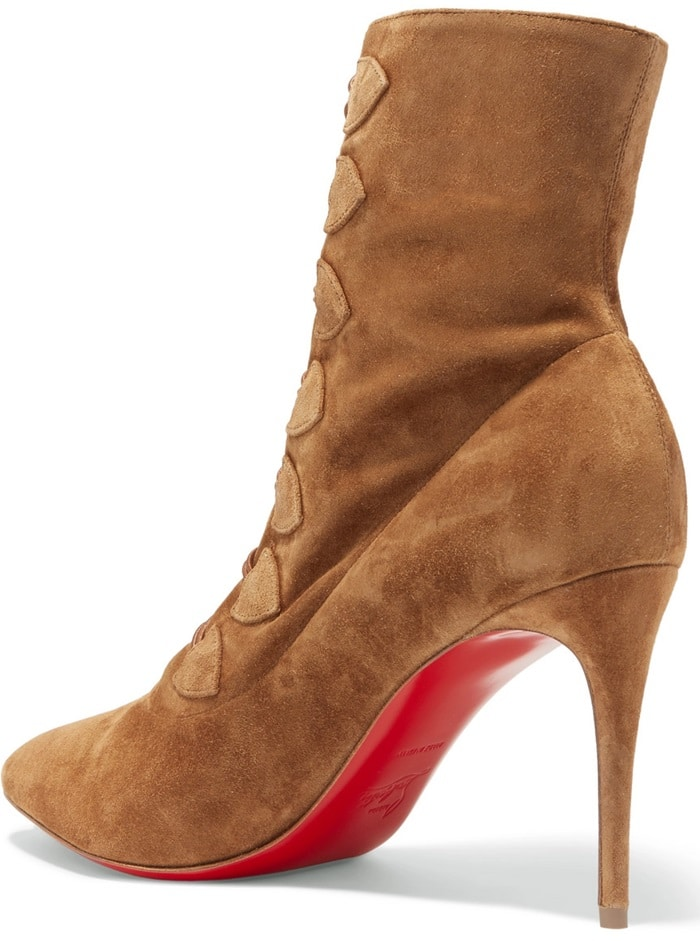 The frogging down the front of Christian Louboutin's ankle boots is inspired by traditional French military uniforms