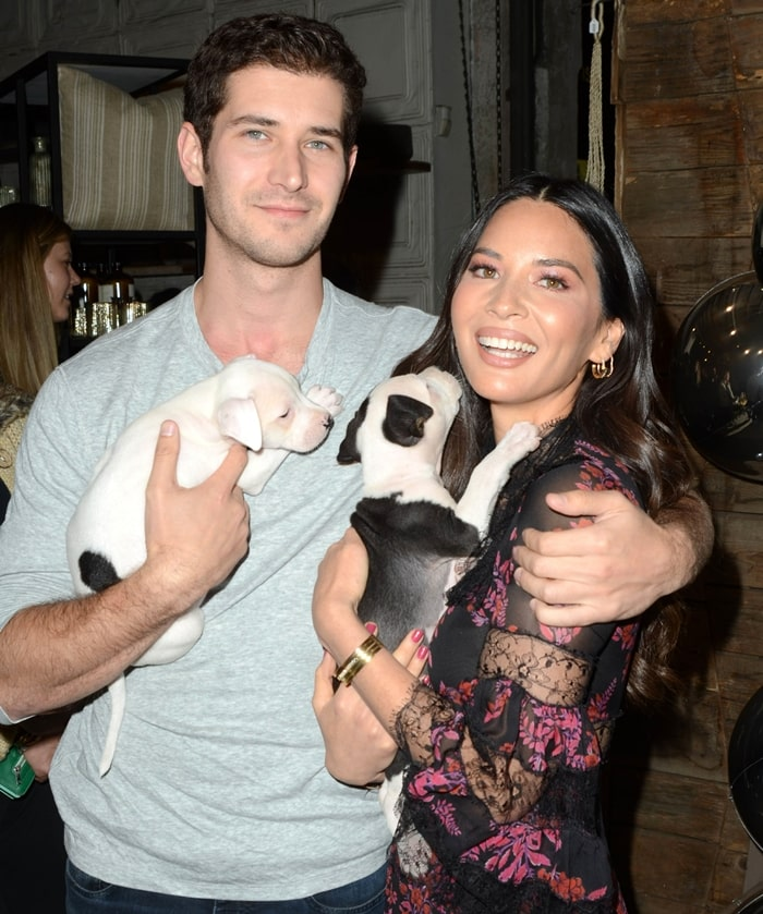 Tucker Roberts and his girlfriend Olivia Munn attend Love Leo Rescue's 2nd Annual Cocktails for a Cause