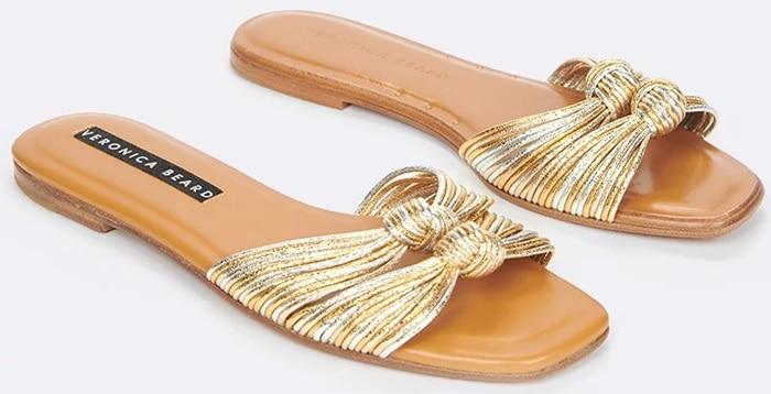 Gold Mix Gemma Knotted Metallic Flat Sandals