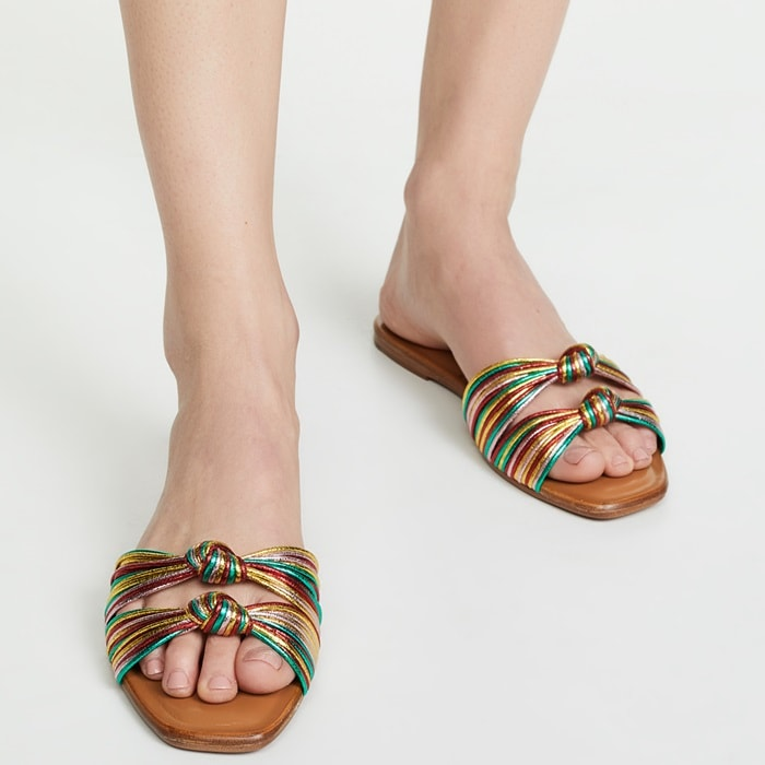 Rainbow Gemma Knotted Metallic Flat Sandals