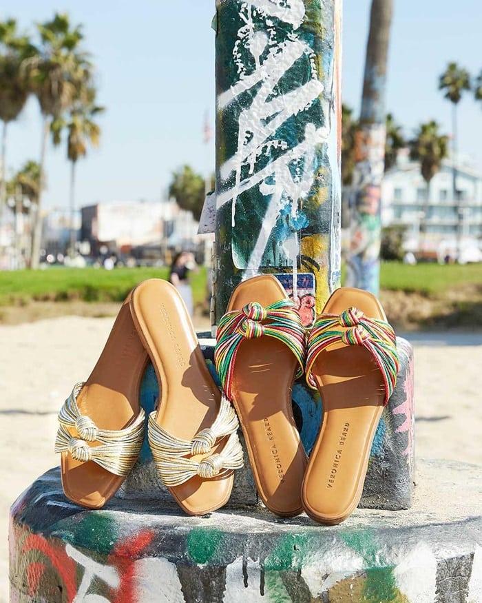 Veronica Beard Gemma Knotted Metallic Flat Sandals