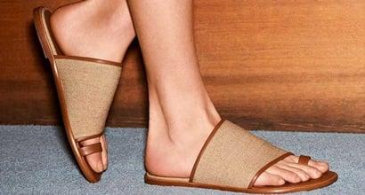 eea34383c31 Woven Toe Loop Edan Sandals in Linen Fabric and Rock Calf Leather