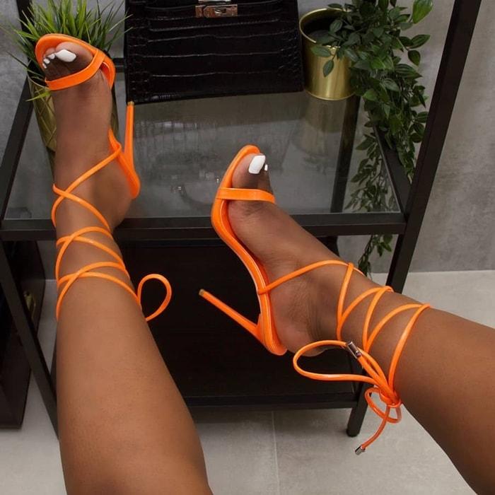 Whitney Mirror Tie Up Stiletto Heels