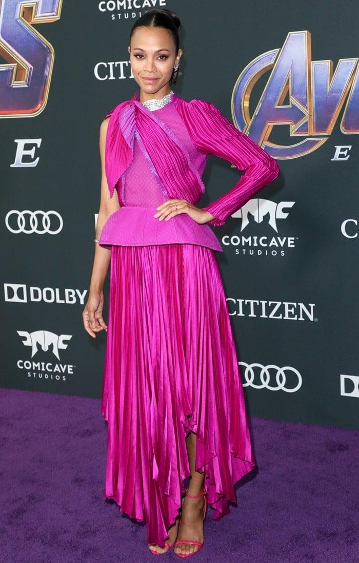 Zoe Saldana accessorized with pink diamonds from Jared Lehr