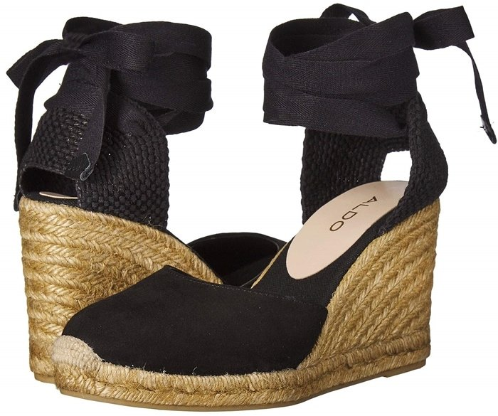 Make your style stand out in black Muschett espadrille wedges with a leather upper with jute heel