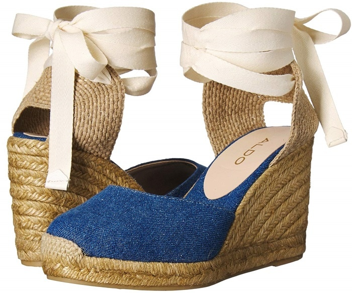 Make your style stand out in denim Muschett espadrille wedges with a leather upper with jute heel