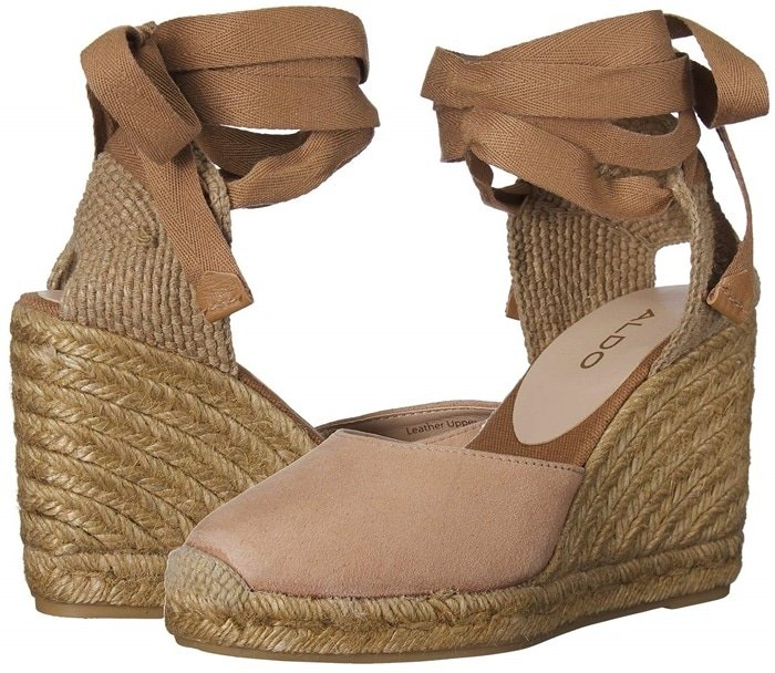 Make your style stand out in brown Muschett espadrille wedges with a leather upper with jute heel