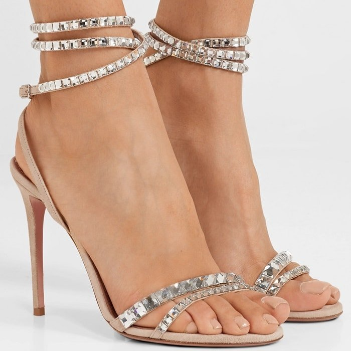 Perfect for special events, Aquazzura's 'So Vera' sandals are covered in scores of faceted crystals that catch the light from every angle