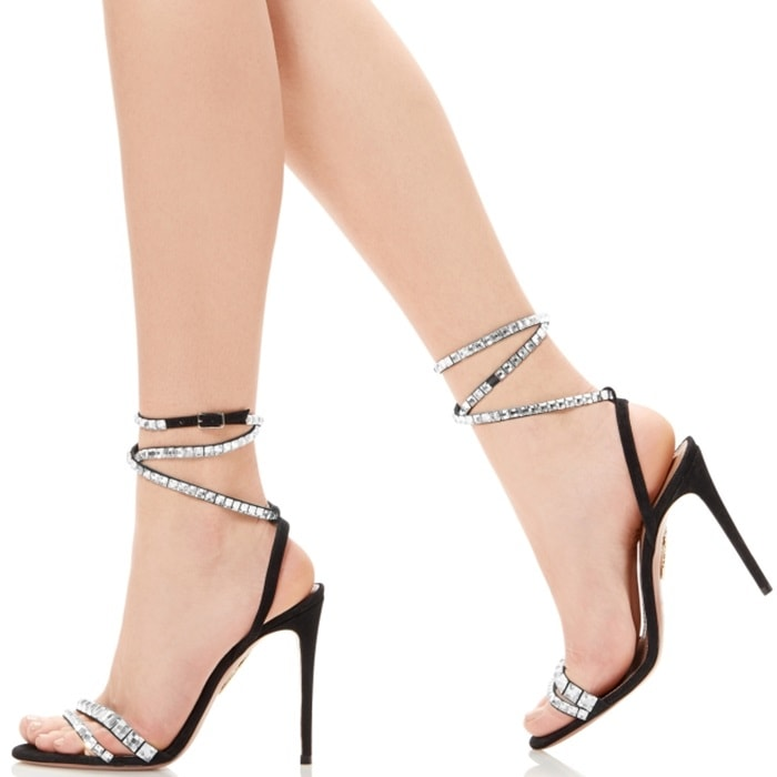 Black So Vera Swarovski Crystal Embellished Slingback Sandals