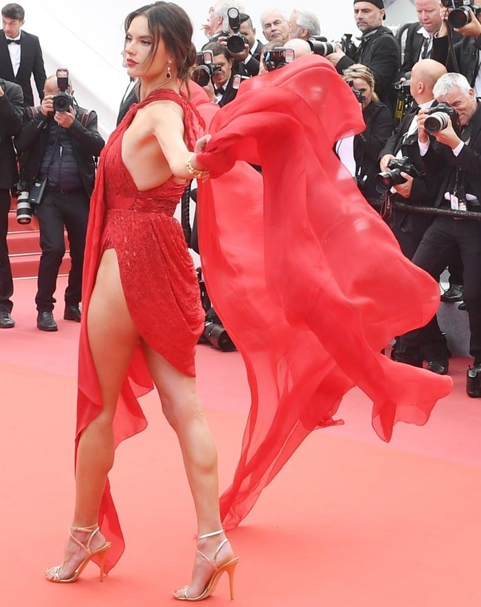 Alessandra Ambrosio in a tacky red naked dress at the screening premiere of Les Misérables