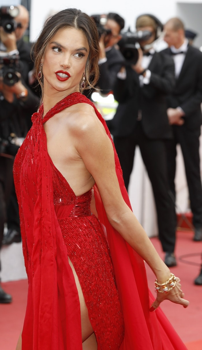 Alessandra Ambrosio's red teardrop earrings