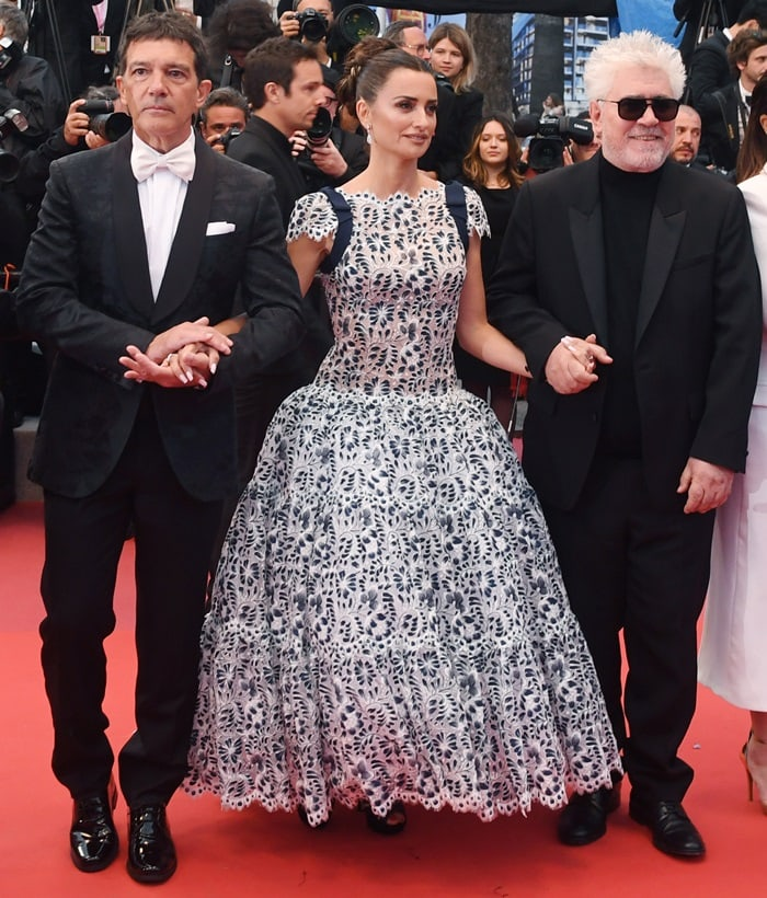 Antonio Banderas, Penelope Cruz, and Pedro Almodovar at the premiere of their new movie Pain and Glory (Dolor Y Gloria) in Cannes, France, on May 17, 2019