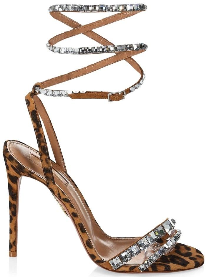 Aquazzura So Vera Swarovski Crystal Embellished Leopard Slingback Sandal