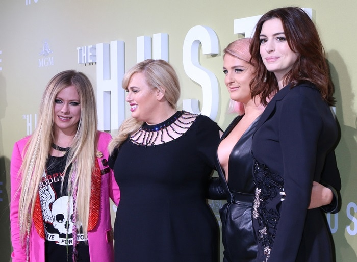 Meghan Trainor, Avril Lavigne, Rebel Wilson, and Anne Hathaway at the premiere of The Hustle