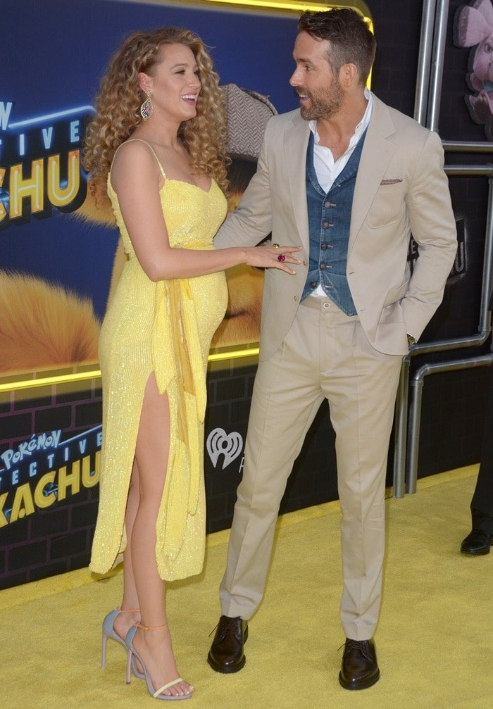 Blake Lively supporting husband Ryan Reynolds at the premiere of his new movie Pokemon: Detective Pikachu
