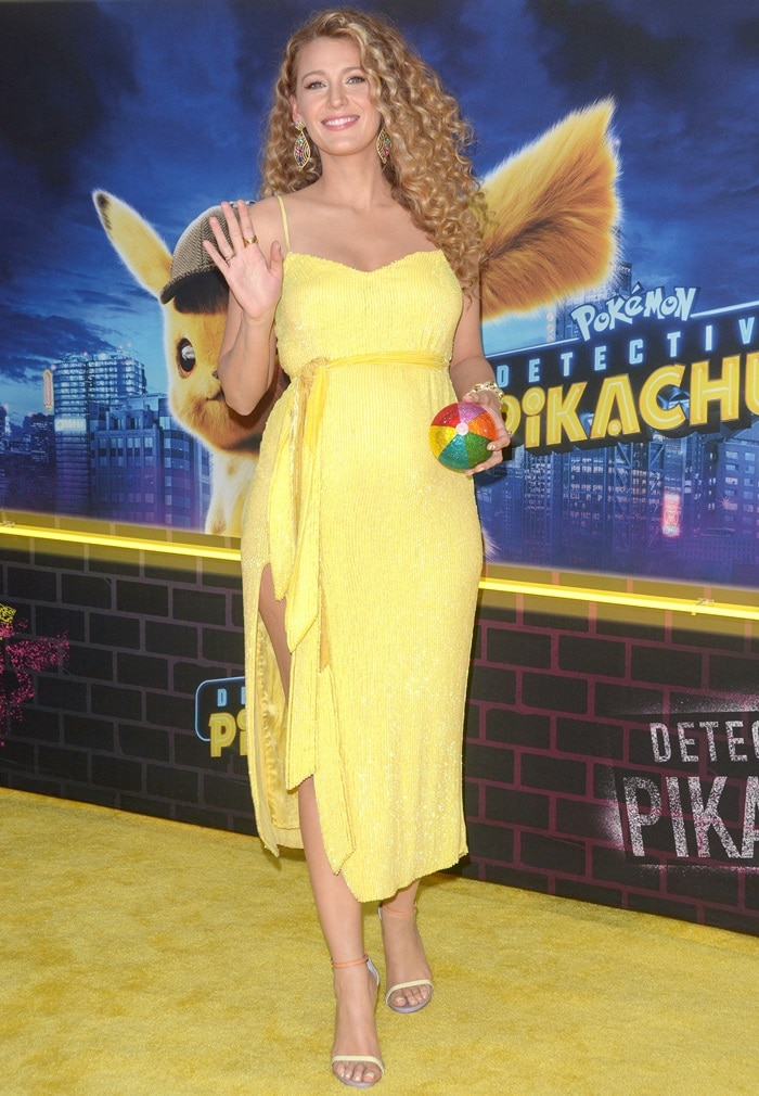 Blake Lively's hot legs in Retrofête's Rebecca sequin slip gown in metallic yellow
