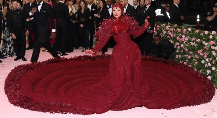 Cardi B wore an oxblood gown to the 2019 Met Gala