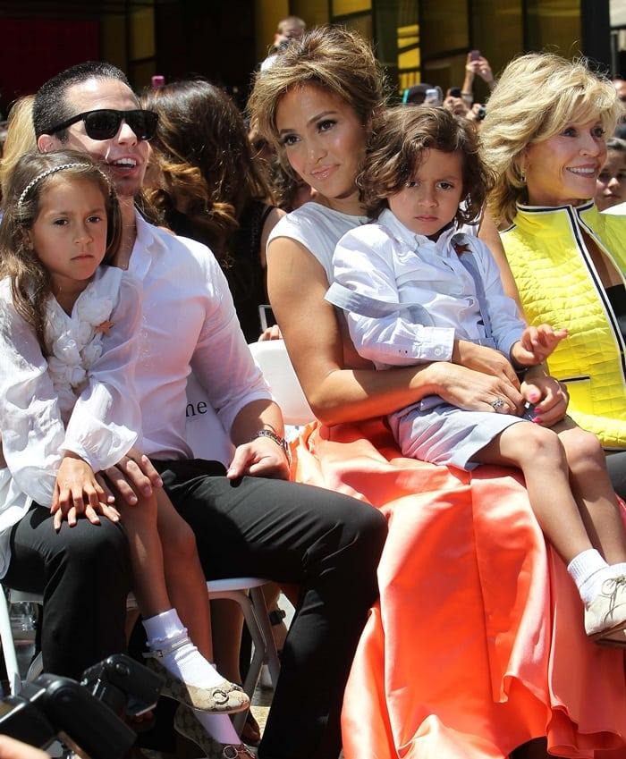 Casper Smart, Emme Maribel, Maximilian David, and Jennifer Lopez attend the Hollywood Walk of Fame ceremony