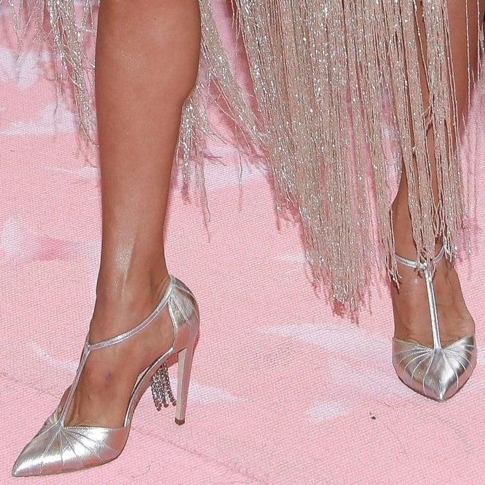 Celine Dion's feet in Chloe Gosselin T-strap heels