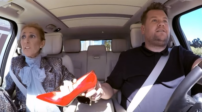 Celine Dion gives away red pointy-toe pumps with James Corden