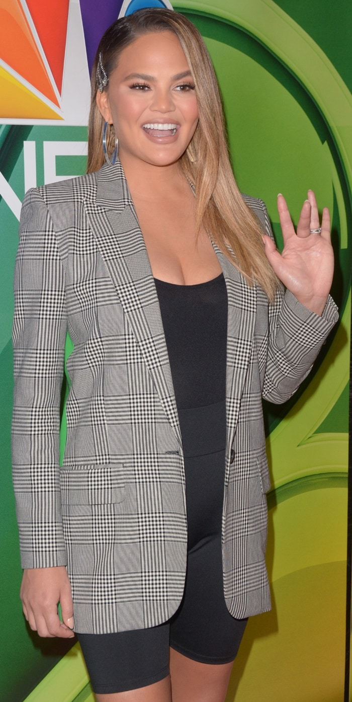Chrissy Teigen promotes Bring the Funny during the NBC Upfronts Presentation
