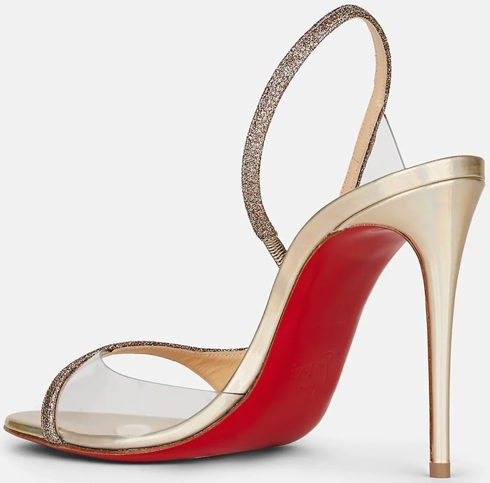 Christian Louboutin Optisling sandals in fine glitter fabric with metallic leather trim