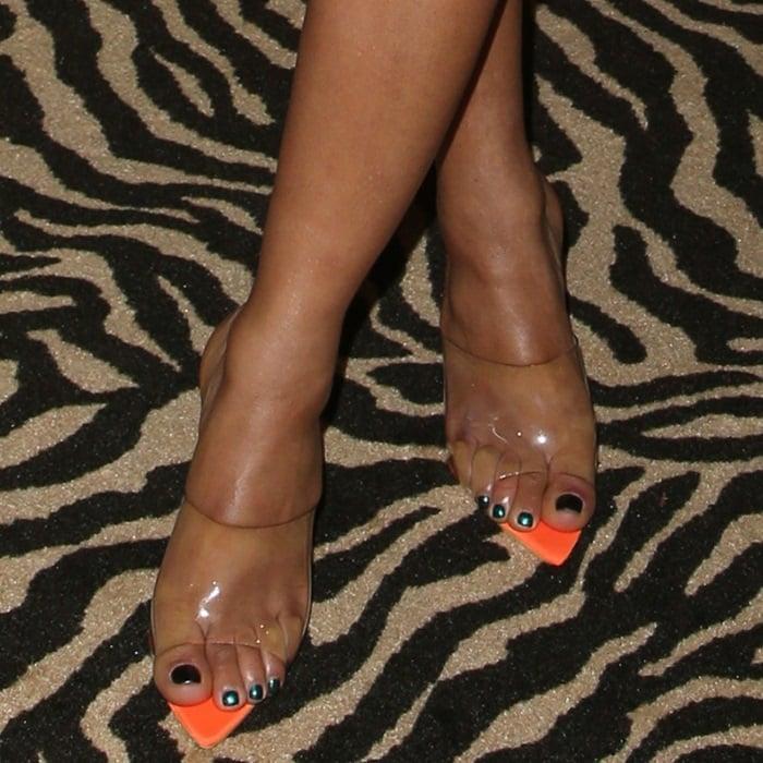 Christina Milian's hot feet in orange block heels