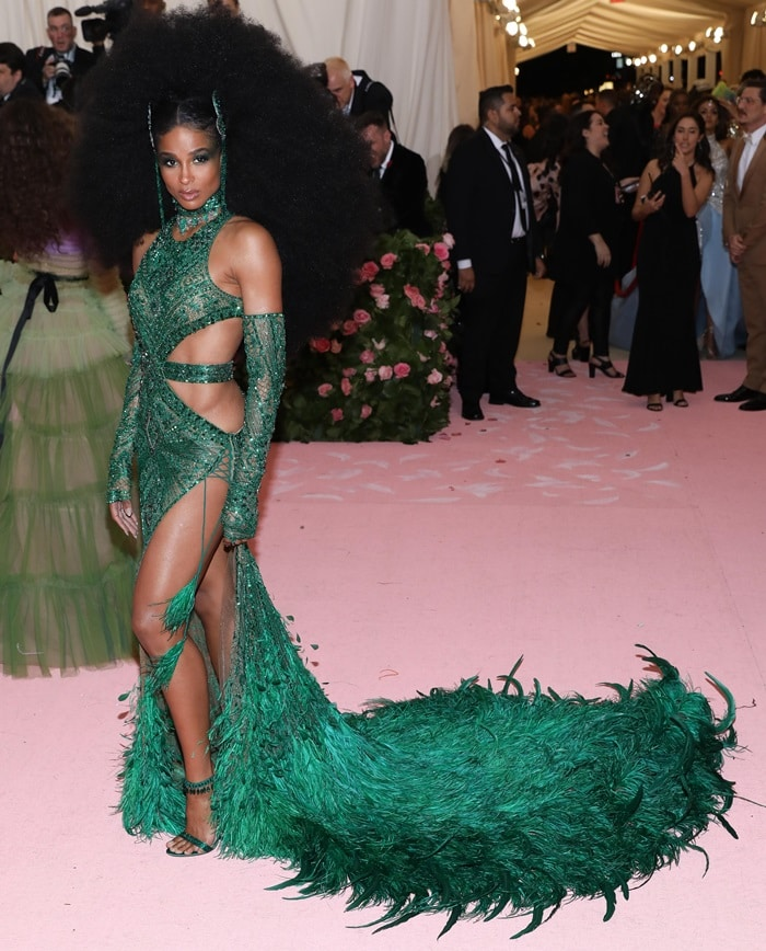 Ciara's emerald green sequined gown at the 2019 Met Gala