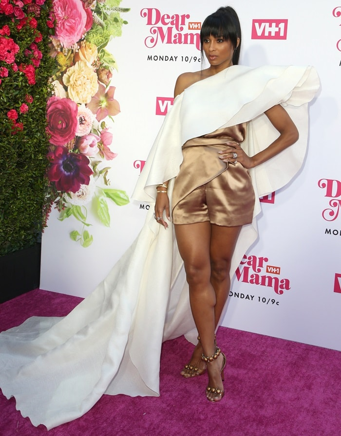 Ciara flashed her legs on the purple carpet while attending VH1′s 2019 Dear Mama: A Love Letter To Mom event