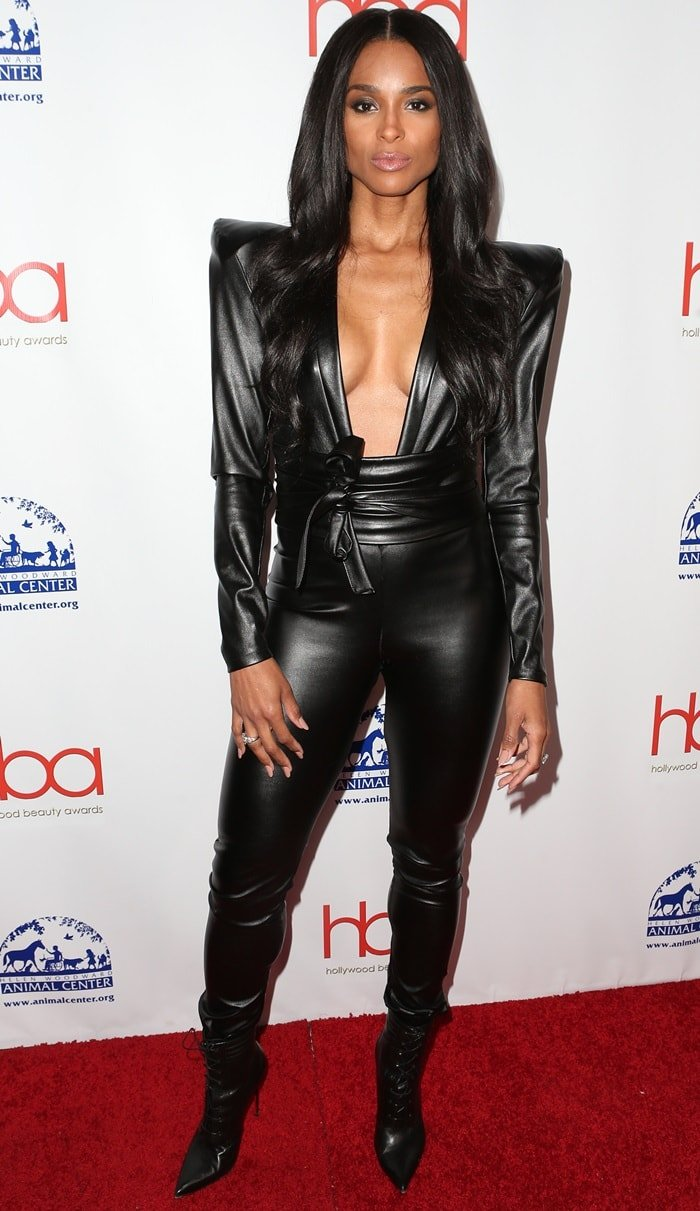 Ciara wore a leather jumpsuit to the 2019 Hollywood Beauty Awards