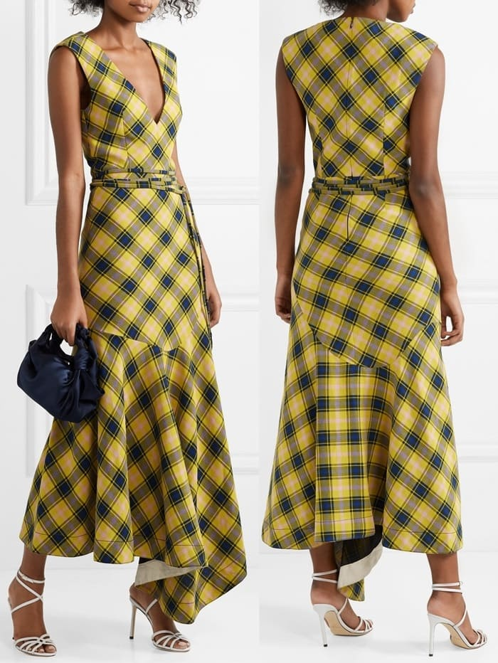 Made from checked cotton and wool-blend, this dress has a nipped-in waist and flouncy asymmetric hem that moves prettily with every step