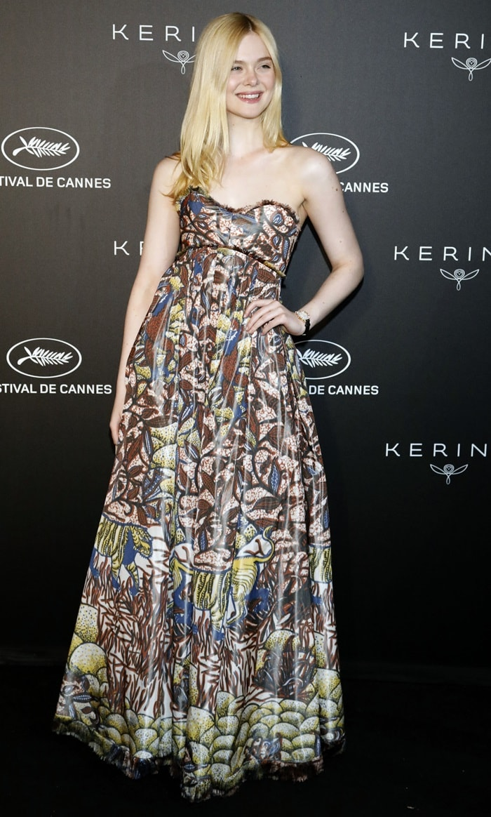 Elle Fanning in a strapless Dior gown at the 2019 Kering Women in Motion Awards