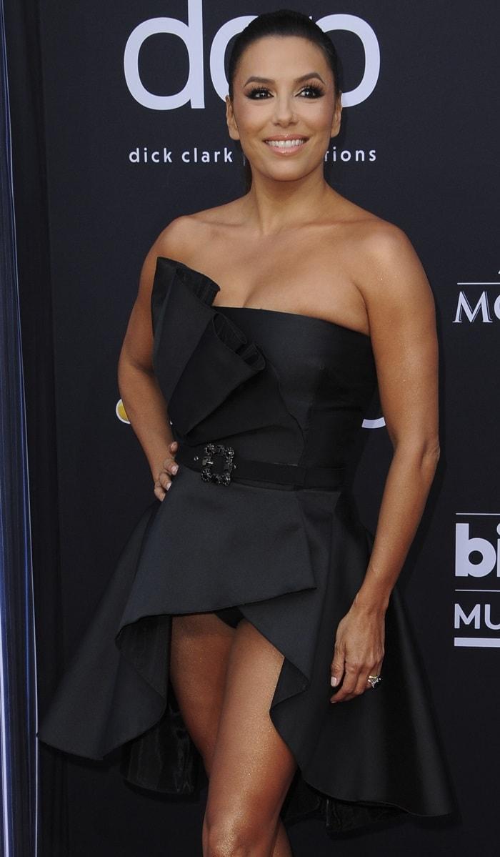 Eva Longoria's black panties and daring Alberta Ferretti dress