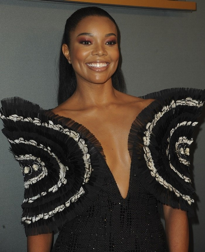 Gabrielle Union wears a Cong Tri dress at the premiere of L.A.'s Finest